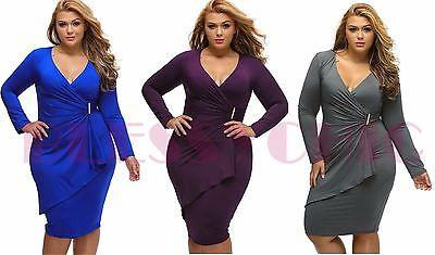 Sexy Women Cocktail Dress Plus Size Clubwear Wrap Bodycon Irregular - Plus Size Women Clubwear