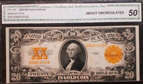 FR 1187  1922 $20 Speelman/White Gold Certificate - AU