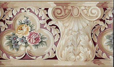 VICTORIAN ARCHITECTURAL TRIM WITH ROSES-BURGUNDY  WALLPAPER BORDER