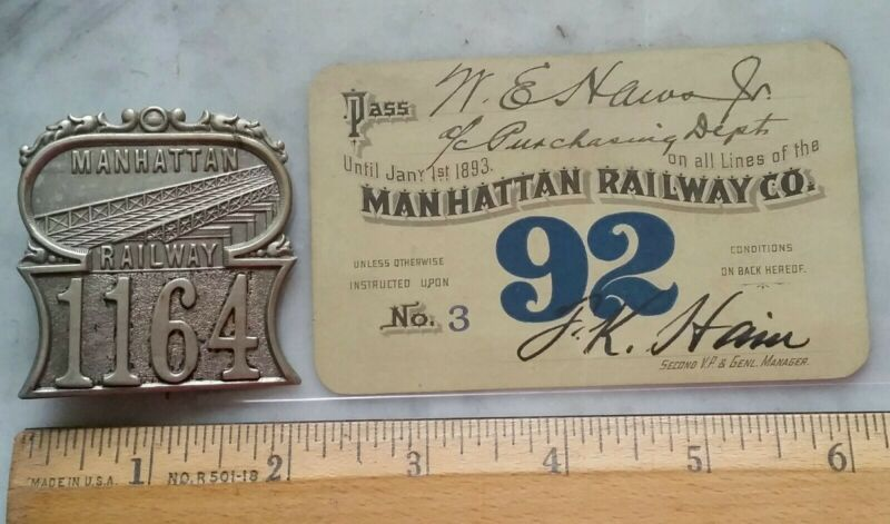RARE! c1885 Manhattan Railway New York City Subway Transit Badge NYC + 1892 pass