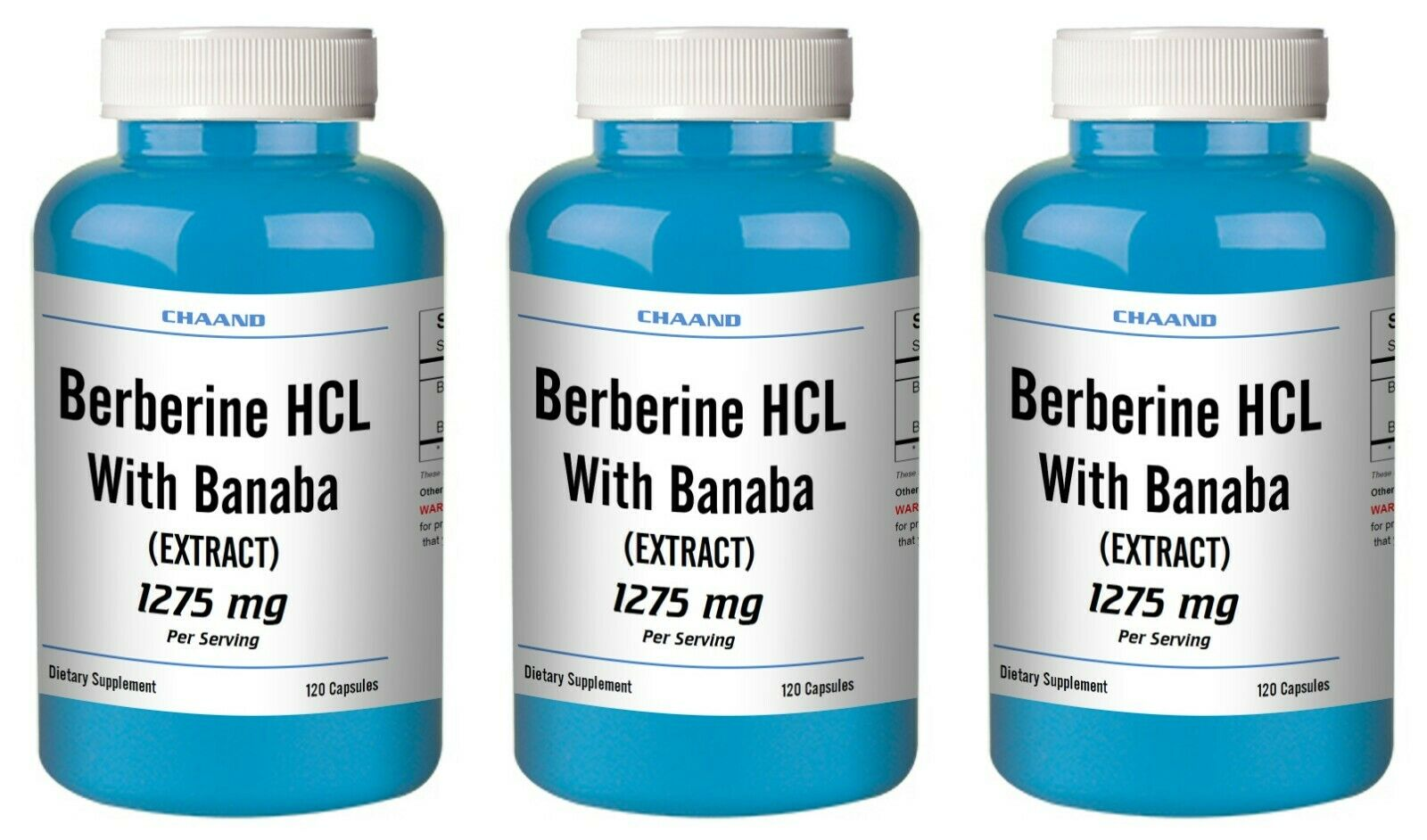 Berberine HCL with Banaba Extract 1275mg 1/2/3 BIG Bottles 120/240/360 Capsules