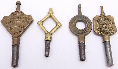 4 Antique Scottish Advertising Pocket Watch Keys. Ref WK14