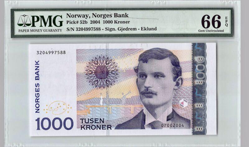 NORWAY 1000 Kroner  2004 P-52b   PMG 66 EPQ GEM UNC