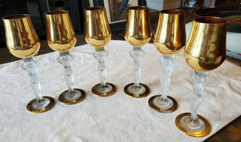 SET OF SIX BAYEL FRENCH GOLD PAINTED CORDIAL GLASSES w/ FROSTED NUDE STEMS GRIPS