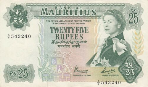 Mauritius 25 Rupees N.D. (1967) P-32 Queen Elizabeth II Ox-drawn cart, Dodo Bird