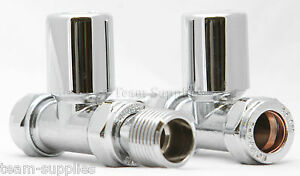 TOWEL RAD RAIL STRAIGHT MANUAL RADIATOR VALVE CHROME LP 15MM PAIR WHEELHEAD