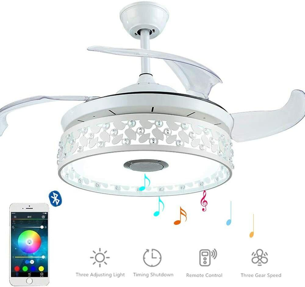 42'' Invisible Ceiling Fans Bluetooth Music Player Led Chand