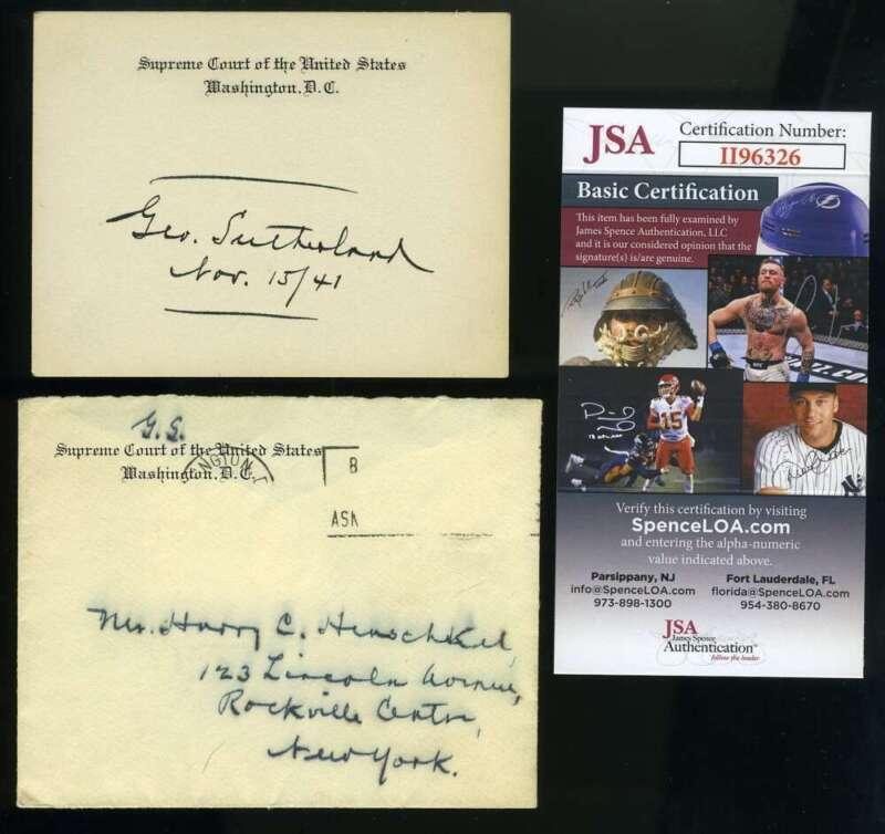 George Sutherland JSA Coa Hand Signed Supreme Court Justice Card Autograph