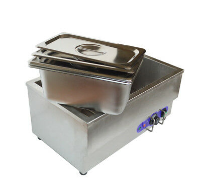3-pan Food Warmer Bain Marie Buffet Countertop Steam Table 6inch Pan