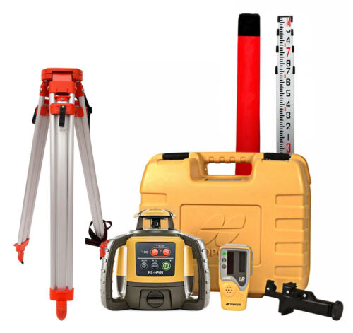 Topcon RL-H5A Self-Leveling Rotary Grade Laser Level W tripod and 14