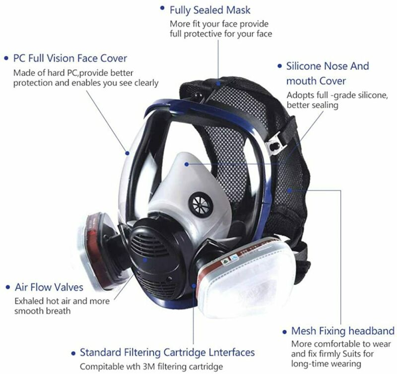 Facepiece Reusable Respirator 15 in 1 Full Face Gas Mask For Painting Spraying