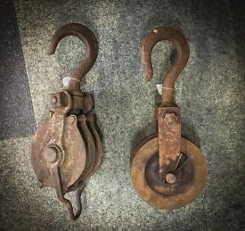 Vintage Cast Iron Heavy Duty Pulley Hooks
