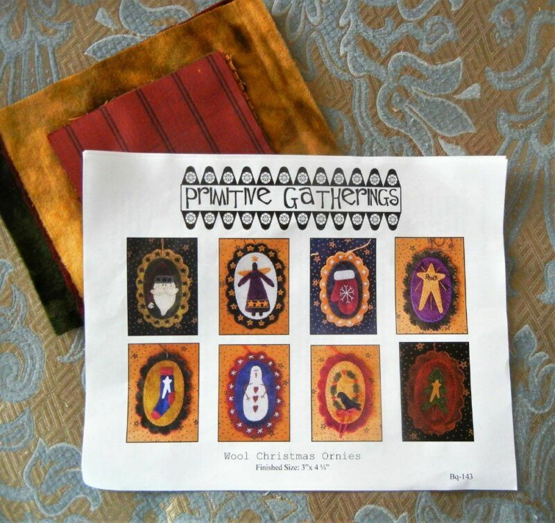 Primitive Gatherings Wool Christmas Ornies Kit  8 Ornaments Pattern + Wool