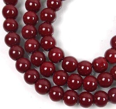 50 Czech Glass Round Beads - Maroon / Amaranth  - Red Glass Beads