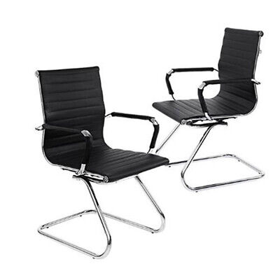 2 Pack Conference Reception Guest Chairs Pu Leather Waiting Patient Room Chairs