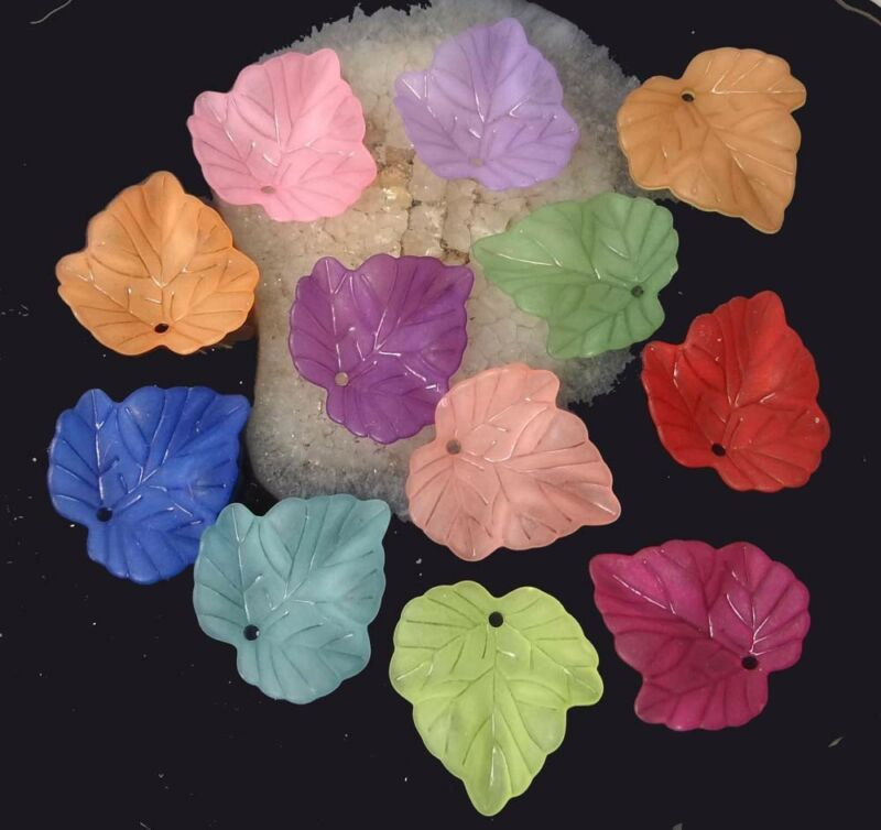 50 Mixed Colorful Translucent Acrylic Frosted Maple Leaf Pendant Charm 24mm
