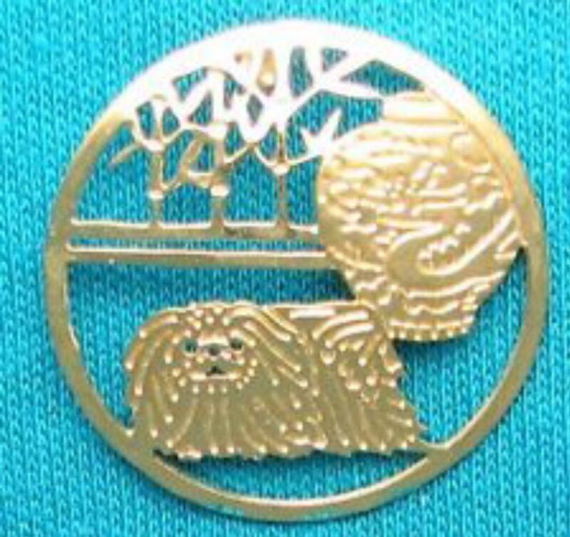 Pekingese Jewelry Small Gold  Pin by Touchstone