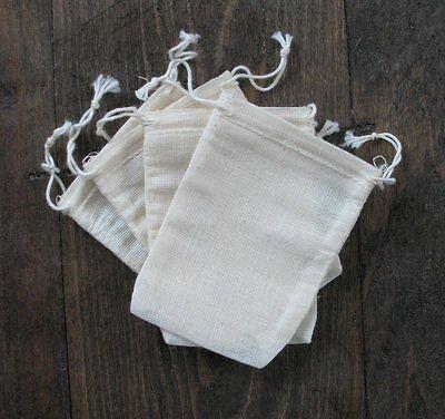 30 muslin drawstring bags sampler10 mini, 3x5,4x6 ea