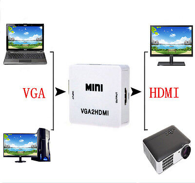 VGA to HDMI Full HD Video 1080P Audio Converter Box Adapter for PC Laptop DVD TV on Rummage