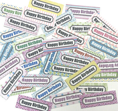 30 SMALL Sentiments 4.5cm Birthday Hand Made Card Toppers Mixed SUMMER Patterns