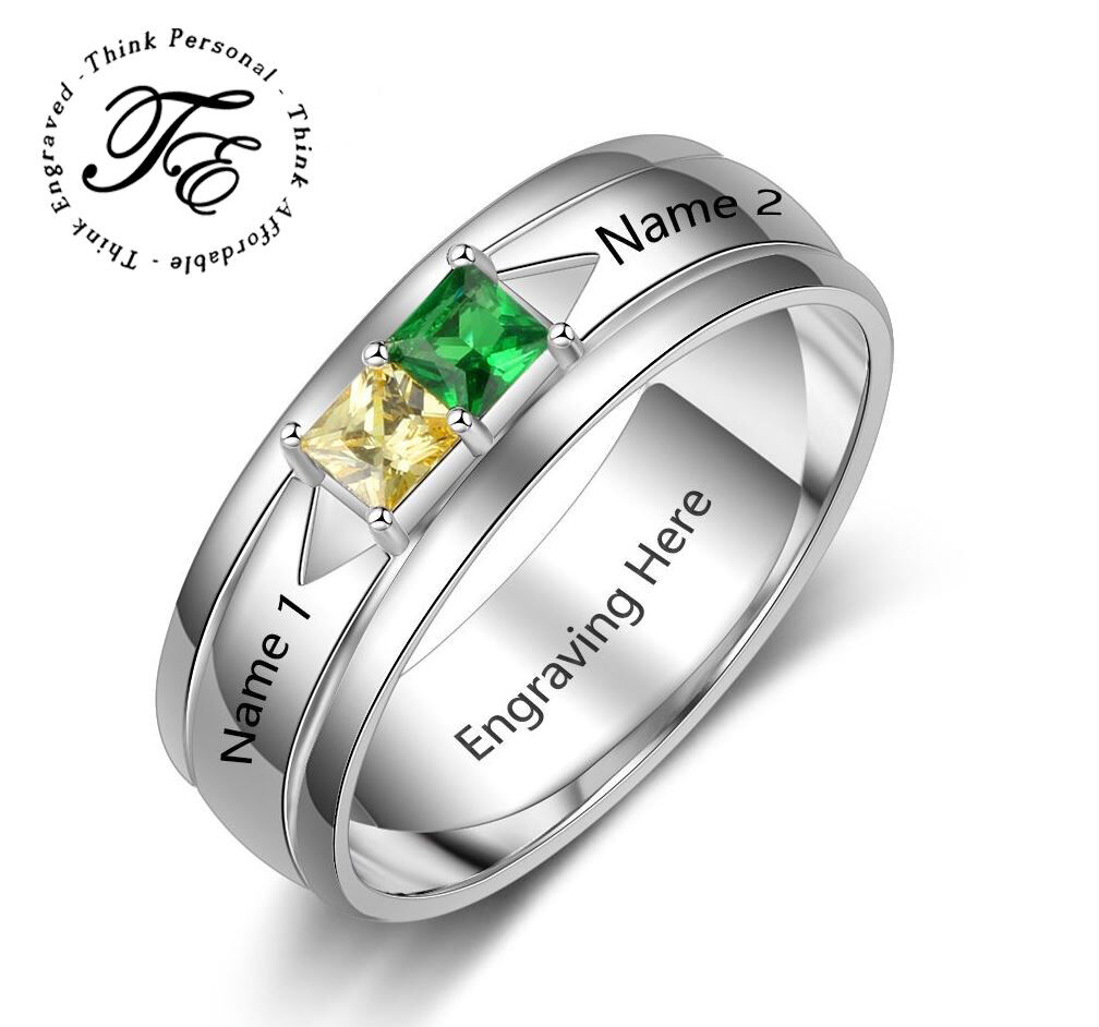 Couples Promise Ring Personalized 2 Stone Square Stones Engr