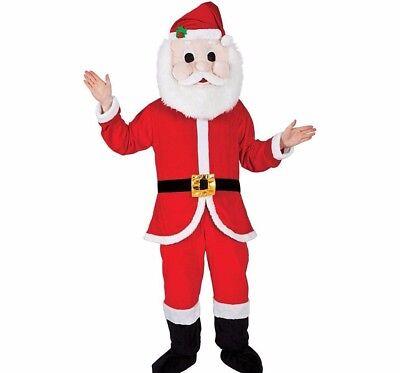 Adult Deluxe SANTA MASCOT Xmas Fancy Dress Costume Outfit Festive Fun Christmas - Santa Mascot Costume