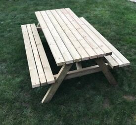 Outdoor Wooden Picnic Table and Benches set 6ft