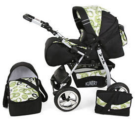 KUNERT VIP 3in1 baby Pram, Pushchair, Carry Cot and Car Seat - as new