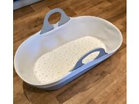 Grey Moba baby Moses basket and sheets - excellent condition