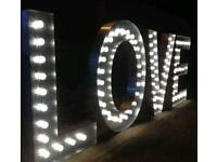 5ft Hand Crafted Aluminium Light Up Love Letters For Hire Nottingham And Surrounding Area