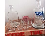 Vodka Tray with 6 Shot Glasses, Serving Bottle, Red LED Bottle, Candle, Mirrors and Wooden Tray