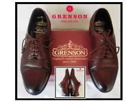 "Mens Superb ""Grenson"" Leather Oxford Shoes In Oxblood. (£220 retail) Size 10uk Still in original box"