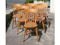 Set Of Six Solid Pine Farmhouse Chairs