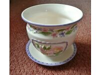 M&S Marks & Spencer Cream Pink Mauve Green Floral Ceramic Plant Flower Pot / Planter and Dish