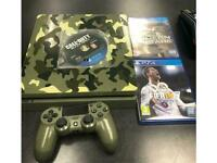 Sony PlayStation 4 Slim 1TB Green Camouflage Limited edition! 3 games.