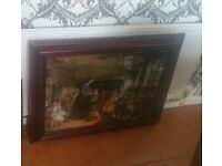 Beautiful heavy framed glass picture