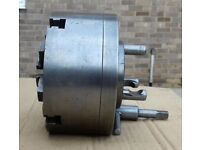 "chip master lathe chuck 6"" self centering 4 jaw with d1-3 back plate & inside jaws in good condition"