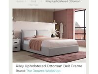 Grey double ottoman bed