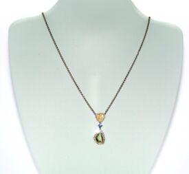"""FAB UNIQUE 18CT WHITE GOLD SAPPHIRE & DIAMOND NECKLACE LENGHT 16"""" FH .35CT DIAMONDS + 3CT S"""