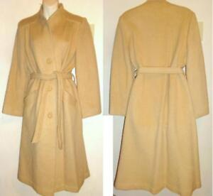 Vintage MOHAIR Blend Wool Coat Long Winter Ladies Womens M 38 Camel brown Warm Cozy Insulated Retro