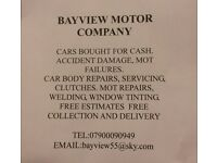 CARS BOUGHT FOR CASH. DAMAGED AND MOT FAILURES CONSIDERED. CAR REPAIRS, SERVICING AND BODYWORK