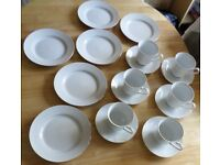 Fine Bone China Cup/Saucer/Side Plate x6 Set Vintage From 1940/50/60/70's