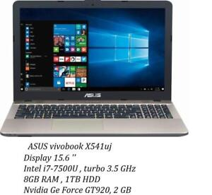 ASUS Vivobook X541U 15.6 '' Intel i7-7500u  turbo 3.5GHZ, 8GB, 1TB, Nvidia GeForce GT920 + Mc Office Pro 2016