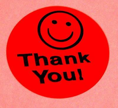 1000 1.5 Thank You Smiley Label Sticker Red Fs