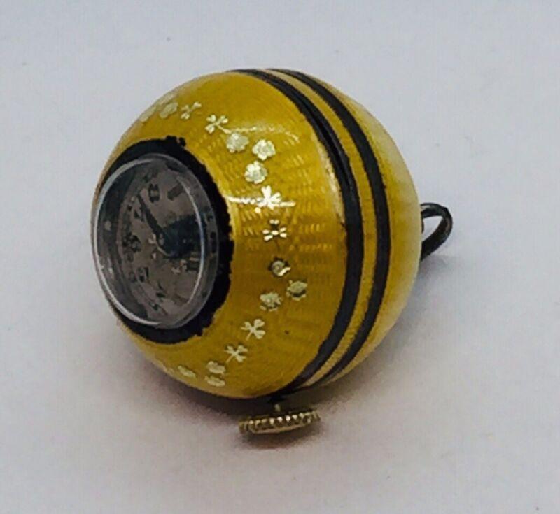 Antique Art Deco Sterling Silver Yellow Enamel Guilloche Ball Watch Pendant