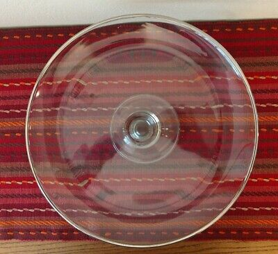 Large Clear Glass Footed Cake Plate Pedestal Silver Rim 13