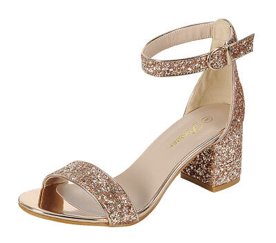 New women's shoes evening sprinkle buckle closure mid heel wedding rose gold ()