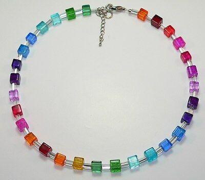 Halskette Kette Perlen Würfel Glas mehrfarbig gelb grün blau rot bunt 266b ()