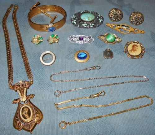 Nice Group  15 pc  Victorian & Antique Jewelry  Many Pins...
