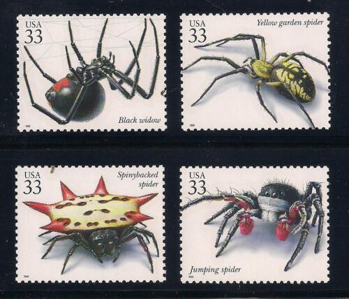 SPIDERS - BLACK WIDOW, YELLOW GARDEN, JUMPING - SET OF 4 U.S. POSTAGE STAMPS